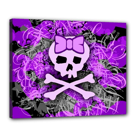 Purple Girly Skull Canvas 20  X 16  (framed)