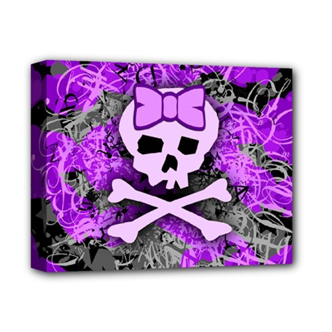 Purple Girly Skull Deluxe Canvas 14  X 11  (framed)