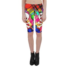 Rainbow Plaid Skull Cropped Leggings