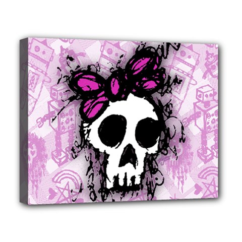 Sketched Skull Princess Deluxe Canvas 20  x 16  (Framed)