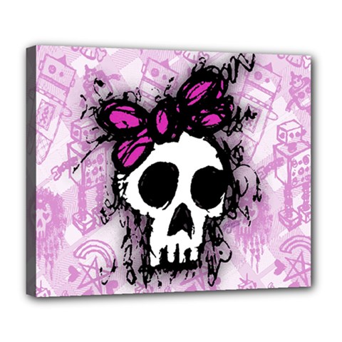 Sketched Skull Princess Deluxe Canvas 24  x 20  (Framed)