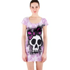 Sketched Skull Princess Short Sleeve Bodycon Dress