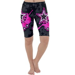 Pink Star Graphic Cropped Leggings  by ArtistRoseanneJones