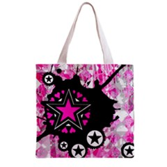 Pink Star Splatter Grocery Tote Bag by ArtistRoseanneJones