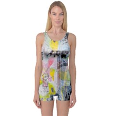 Graffiti Graphic One Piece Boyleg Swimsuit