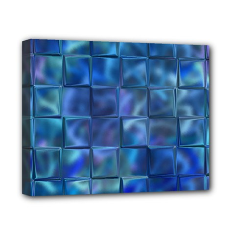 Blue Squares Tiles Canvas 10  X 8  (framed) by KirstenStar