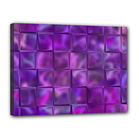Purple Squares Canvas 16  X 12  (framed) by KirstenStar