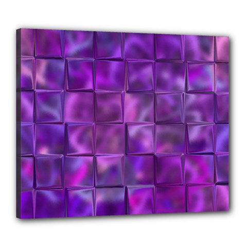 Purple Squares Canvas 24  X 20  (framed) by KirstenStar