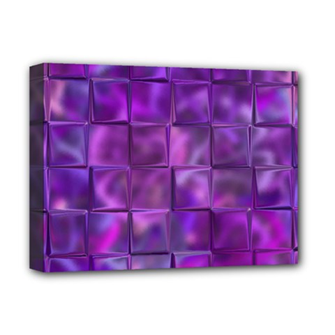 Purple Squares Deluxe Canvas 16  X 12  (framed)  by KirstenStar