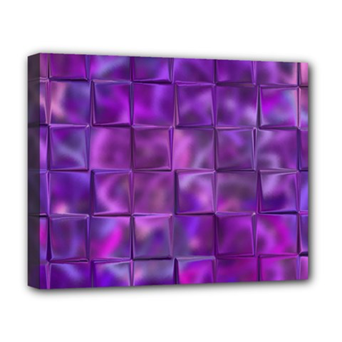 Purple Squares Deluxe Canvas 20  X 16  (framed) by KirstenStar