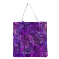 Purple Squares Grocery Tote Bag by KirstenStar