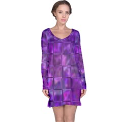 Purple Squares Long Sleeve Nightdress by KirstenStar