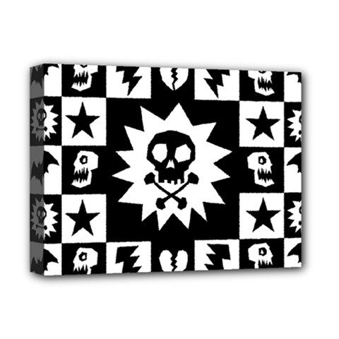 Goth Punk Skull Checkers Deluxe Canvas 16  X 12  (framed)  by ArtistRoseanneJones