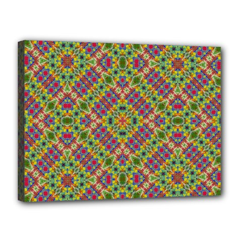 Multicolor Geometric Ethnic Seamless Pattern Canvas 16  X 12  (framed) by dflcprints