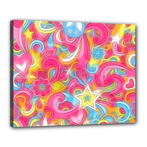 Hippy Peace Swirls Canvas 20  X 16  (framed) by KirstenStar