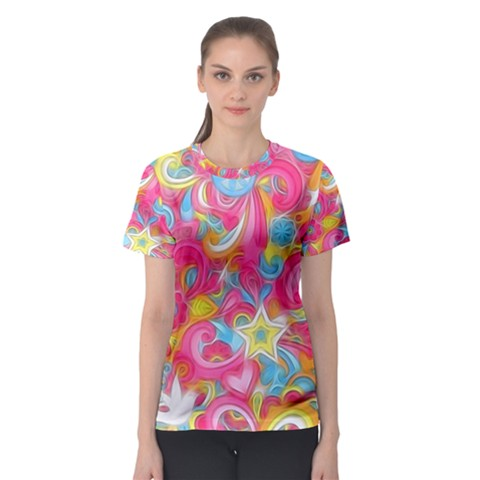 Hippy Peace Swirls Women s Sport Mesh Tee by KirstenStar