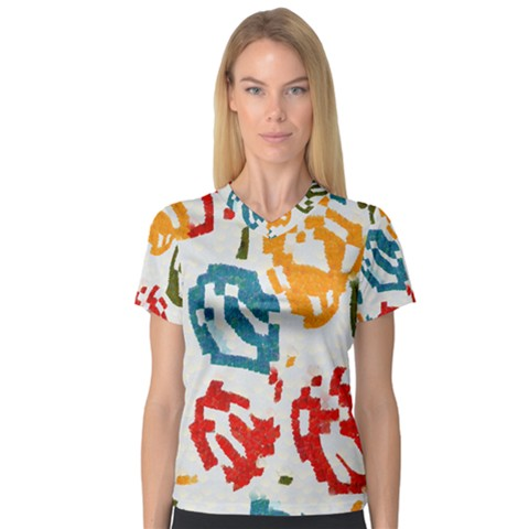 Colorful Paint Stokes Women s V-neck Sport Mesh Tee by LalyLauraFLM