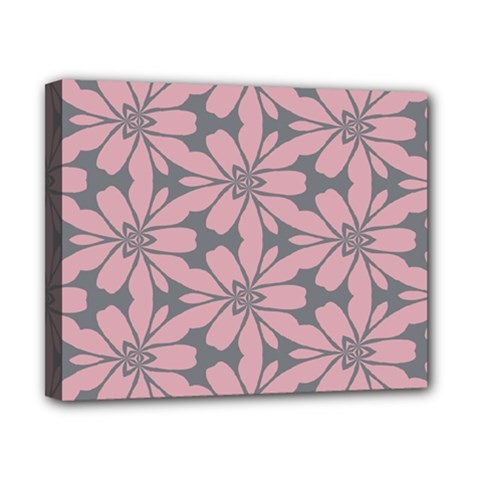 Pink Flowers Pattern Canvas 10  X 8  (stretched) by LalyLauraFLM