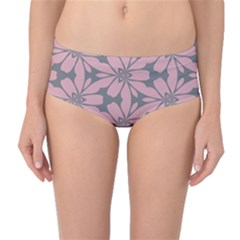 Pink Flowers Pattern Mid-waist Bikini Bottoms by LalyLauraFLM