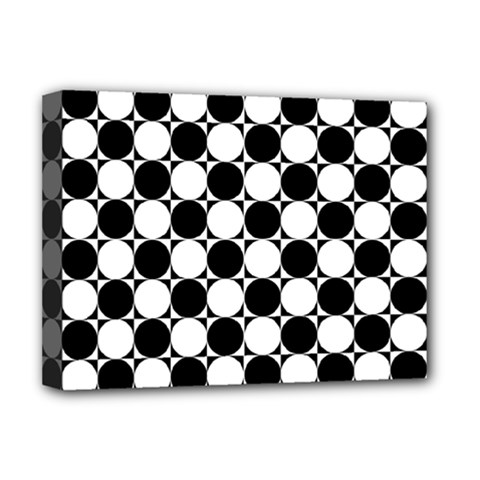 Black And White Polka Dots Deluxe Canvas 16  X 12  (framed)  by ElenaIndolfiStyle