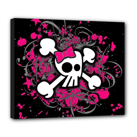 Girly Skull And Crossbones Deluxe Canvas 24  X 20  (framed) by ArtistRoseanneJones