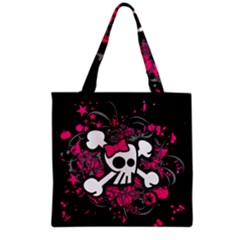 Girly Skull And Crossbones Grocery Tote Bag