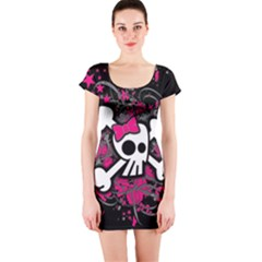 Girly Skull And Crossbones Short Sleeve Bodycon Dress by ArtistRoseanneJones