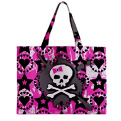 Pink Bow Skull Tiny Tote Bag by ArtistRoseanneJones