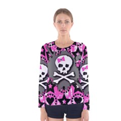 Pink Bow Skull Women s Long Sleeve T Shirt