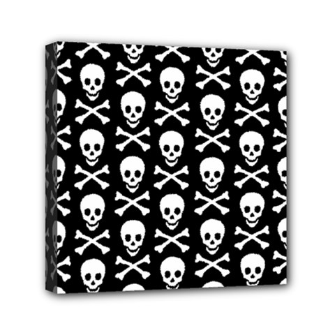 Skull And Crossbones Pattern Mini Canvas 6  X 6  (framed) by ArtistRoseanneJones