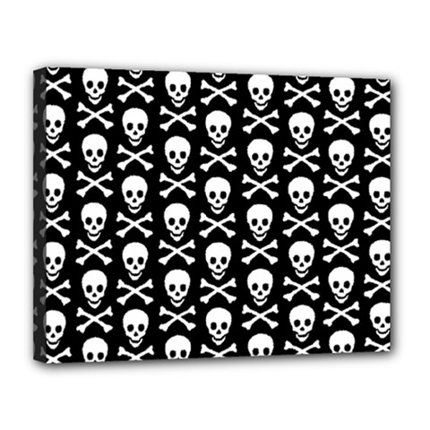 Skull And Crossbones Pattern Canvas 14  X 11  (framed) by ArtistRoseanneJones