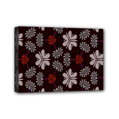 Floral Pattern On A Brown Background Mini Canvas 7  X 5  (stretched) by LalyLauraFLM