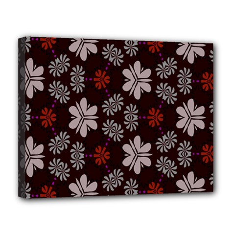 Floral Pattern On A Brown Background Canvas 14  X 11  (stretched) by LalyLauraFLM