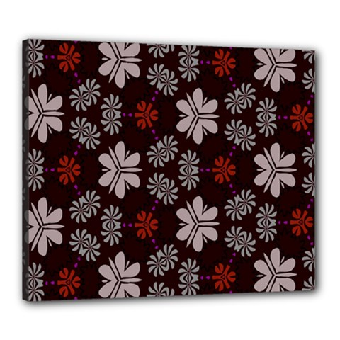 Floral Pattern On A Brown Background Canvas 24  X 20  (stretched) by LalyLauraFLM