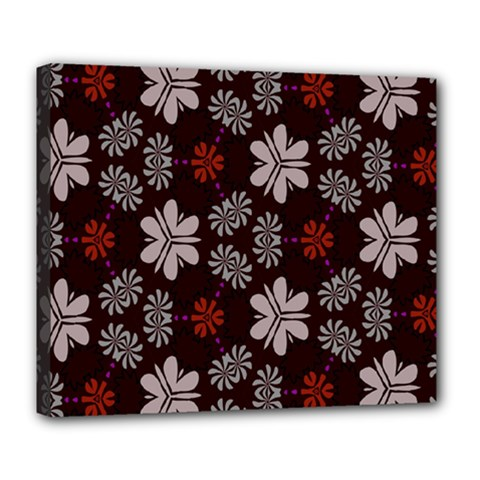 Floral Pattern On A Brown Background Deluxe Canvas 24  X 20  (stretched) by LalyLauraFLM