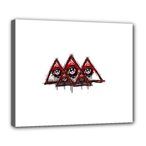 Red White Pyramids Deluxe Canvas 24  X 20  (framed)