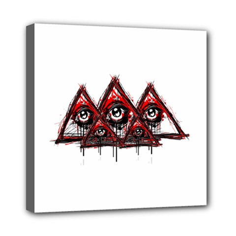 Red White Pyramids Mini Canvas 8  X 8  (framed)