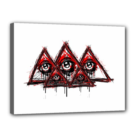 Red White Pyramids Canvas 16  X 12  (framed) by teeship