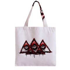 Red White Pyramids Grocery Tote Bag by teeship