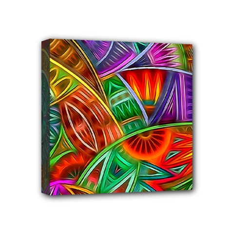 Happy Tribe Mini Canvas 4  X 4  (framed) by KirstenStar