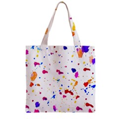 Multicolor Splatter Abstract Print Grocery Tote Bag by dflcprints
