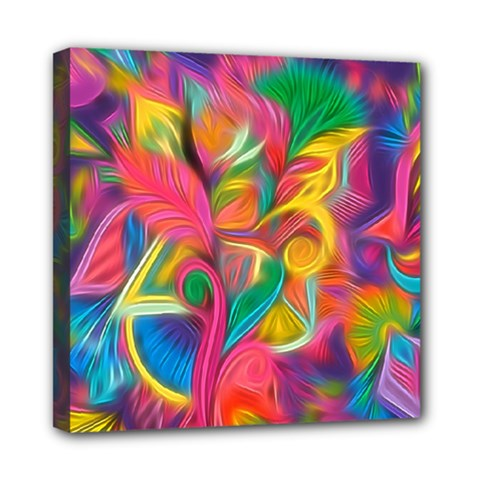 Colorful Floral Abstract Painting Mini Canvas 8  X 8  (framed) by KirstenStar