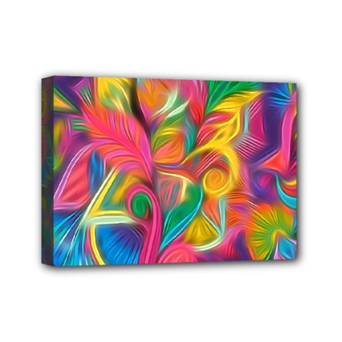 Colorful Floral Abstract Painting Mini Canvas 7  X 5  (framed) by KirstenStar