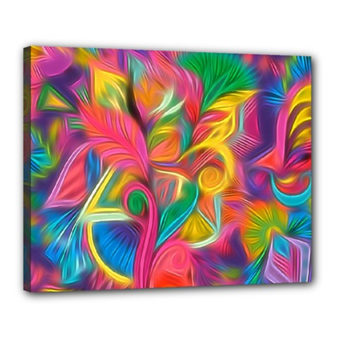 Colorful Floral Abstract Painting Canvas 20  X 16  (framed)