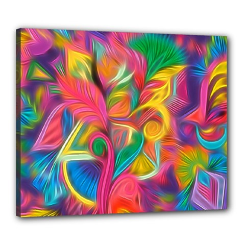 Colorful Floral Abstract Painting Canvas 24  X 20  (framed) by KirstenStar