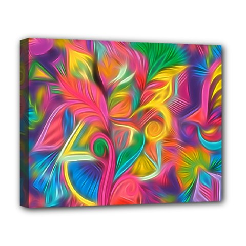 Colorful Floral Abstract Painting Deluxe Canvas 20  X 16  (framed) by KirstenStar