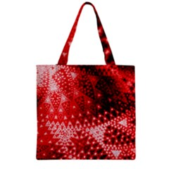 Red Fractal Lace Grocery Tote Bag by KirstenStar