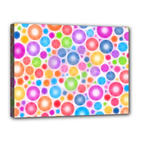 Candy Color s Circles Canvas 16  X 12  (framed) by KirstenStar