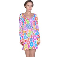 Candy Color s Circles Long Sleeve Nightdress
