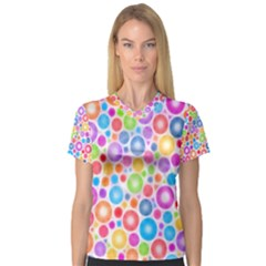 Candy Color s Circles Women s V Neck Sport Mesh Tee by KirstenStar